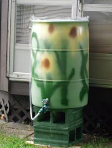 decorated rain barrel
